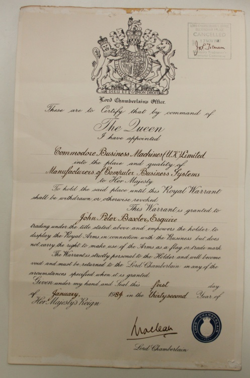 Scan of Document: Commodore Business Machines UK Royal Warrant