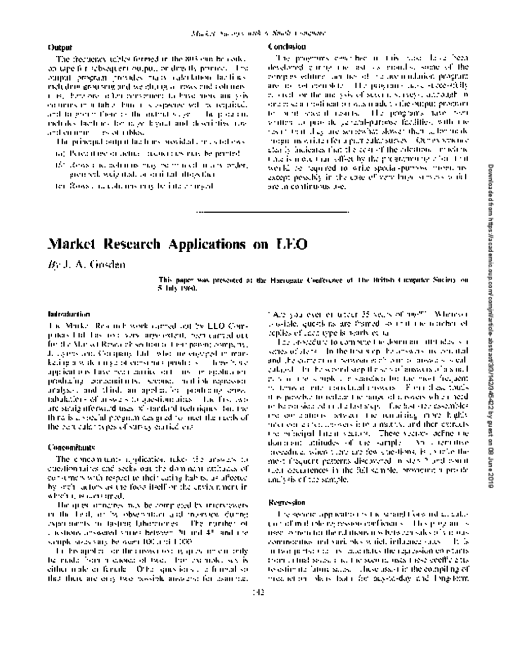 Article: Market Research Applications on LEO