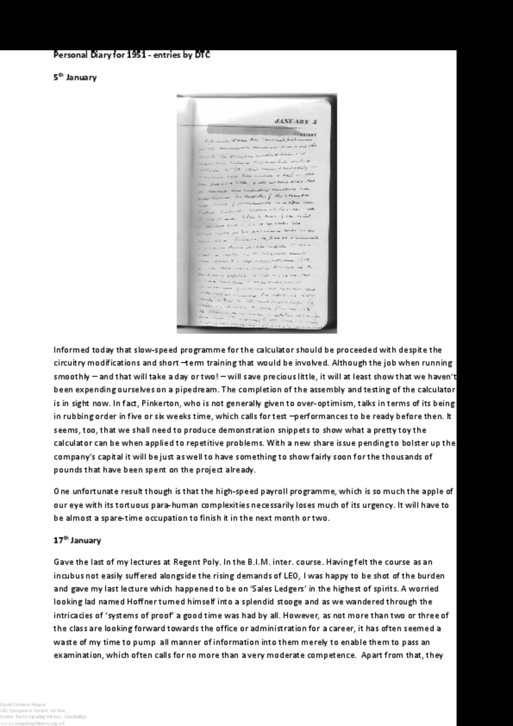 Article: 64175  Transcript from David Caminer's personal diary for 1951