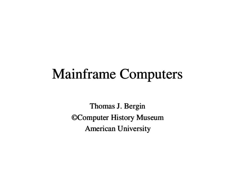 Article: Mainframe Computers
