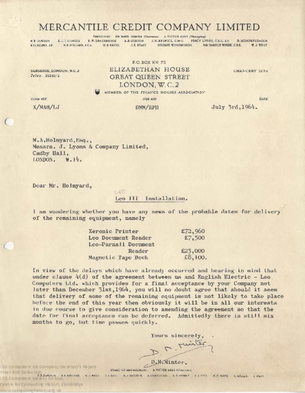 Article: 64211 Mercantile Credit Company installation, 1964