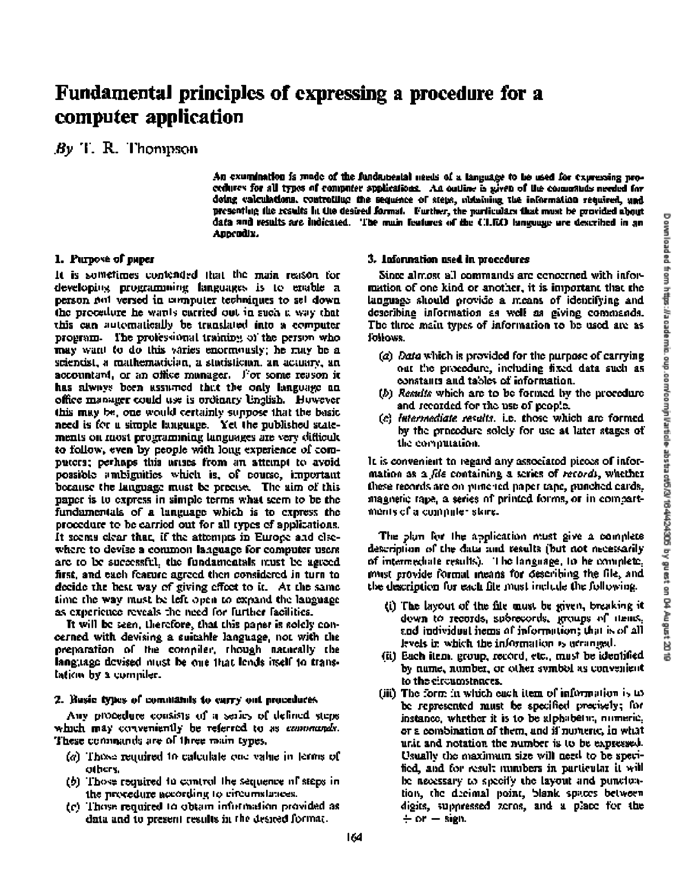 Article: Fundamental Principles of Expressing a Procedure for a Computer Application