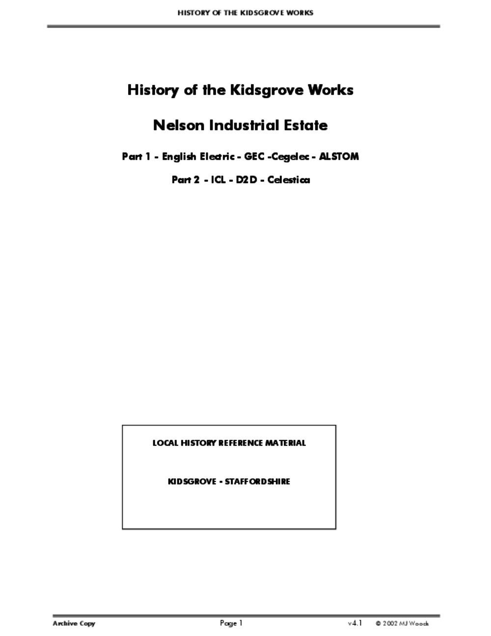 Article: History of the Kidsgrove Works