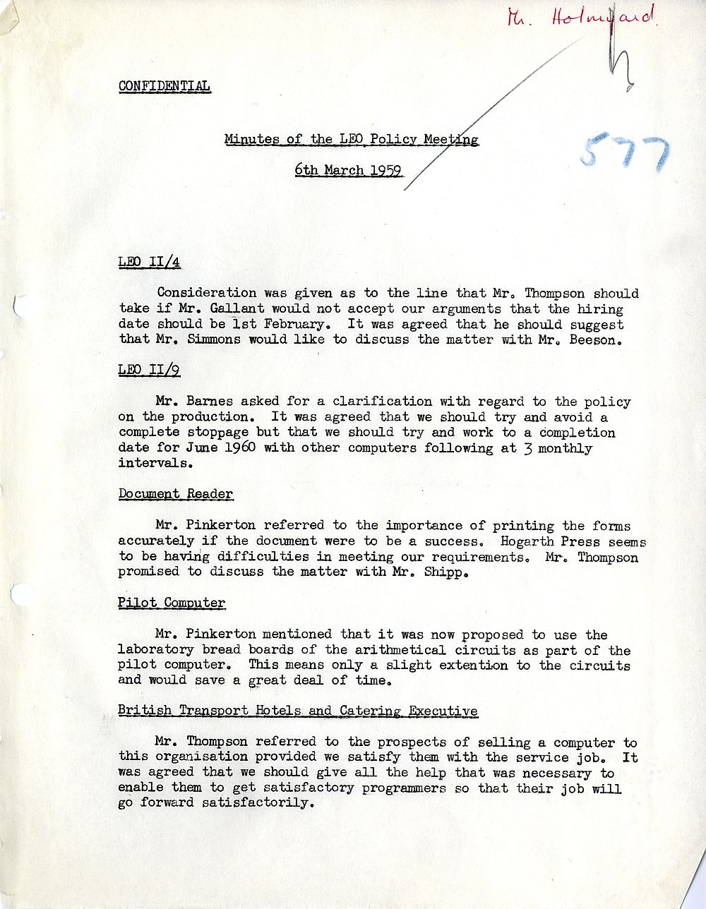 Article: 54579 LEO Policy Meeting, 6/3/1959