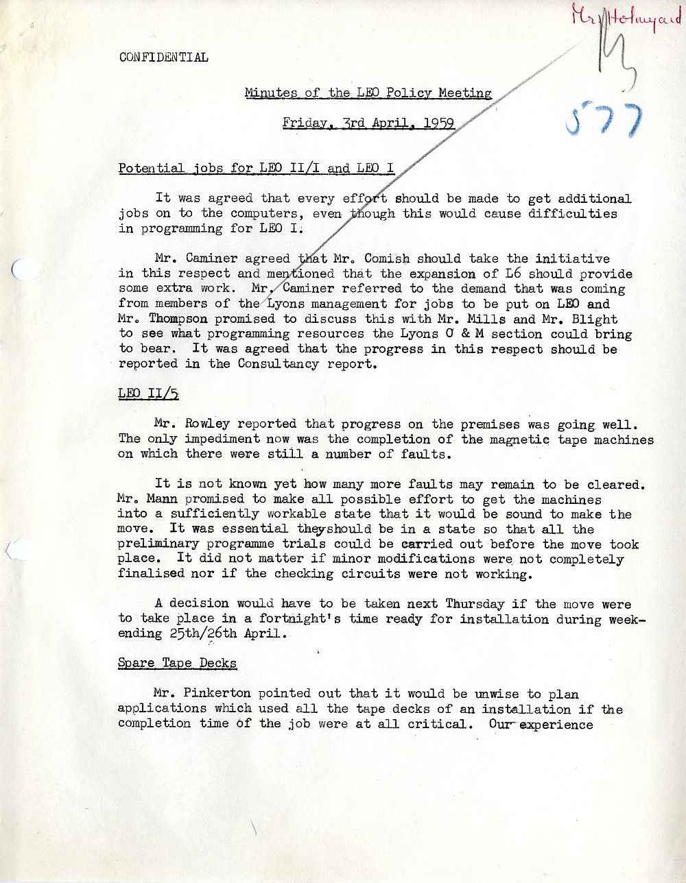 Article: 54585 LEO Policy Meeting, 3/4/1959