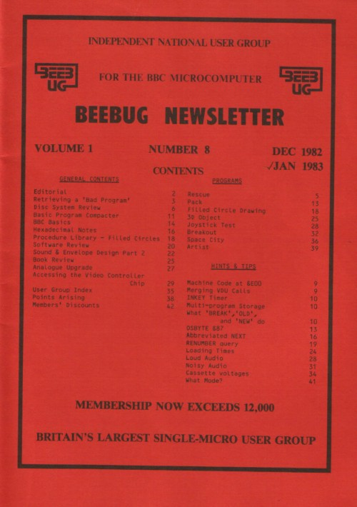 Article: Beebug Newsletter - Volume 1, Number 8 - December 1982 /January 1983