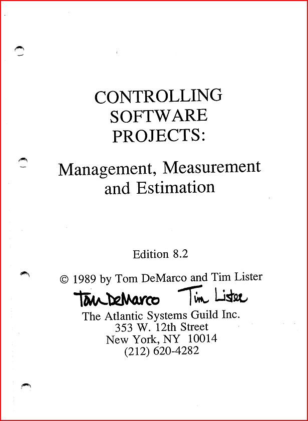 Article: Controlling Software Projects: Management, Measurement and Estimation