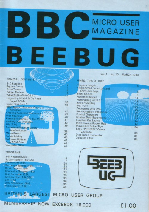 Article: Beebug Newsletter - Volume 1, Number 10 - March 1983