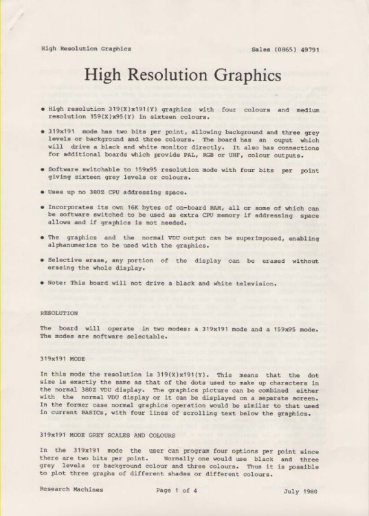 Scan of Document: Research Machines High Resolution Graphics