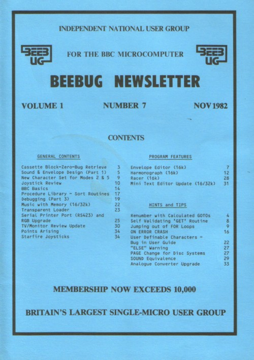 Article: Beebug Newsletter - Volume 1, Number 7 - November 1982