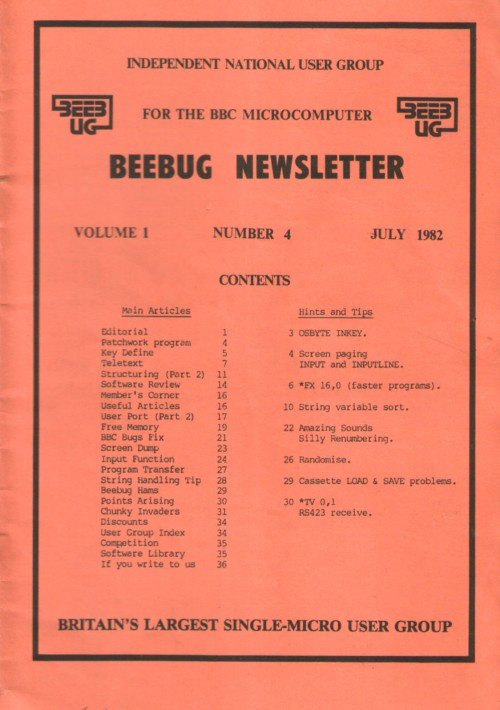 Article: Beebug Newsletter - Volume 1, Number 4 - July 1982