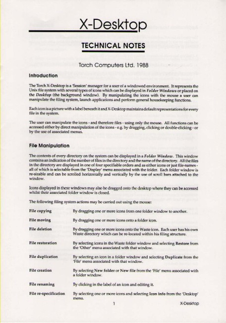 Scan of Document: Torch X-Desktop Technical Notes