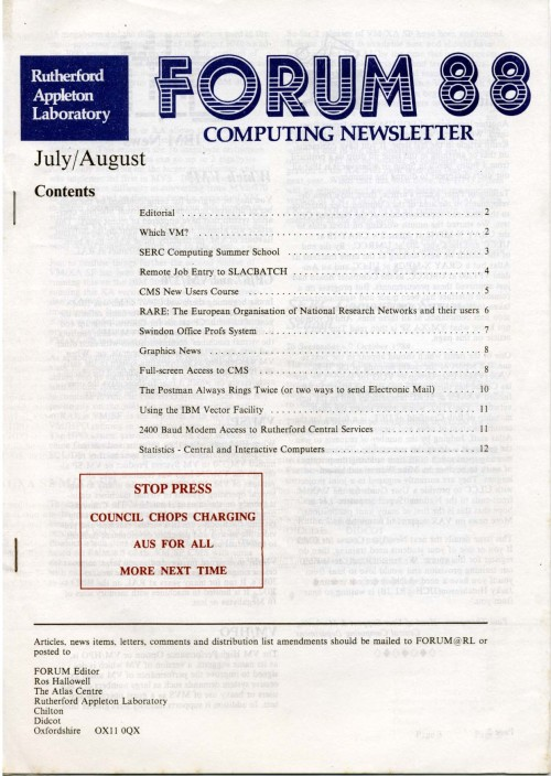 Scan of Document: Forum 88 July/August 1988