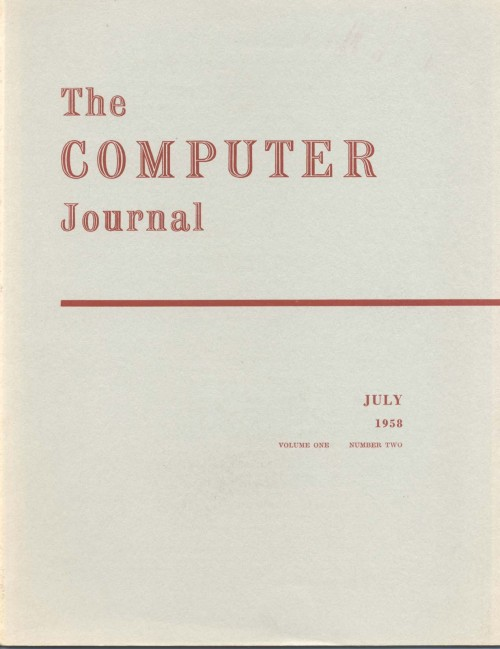 Scan of Document: The Computer Journal July 1958