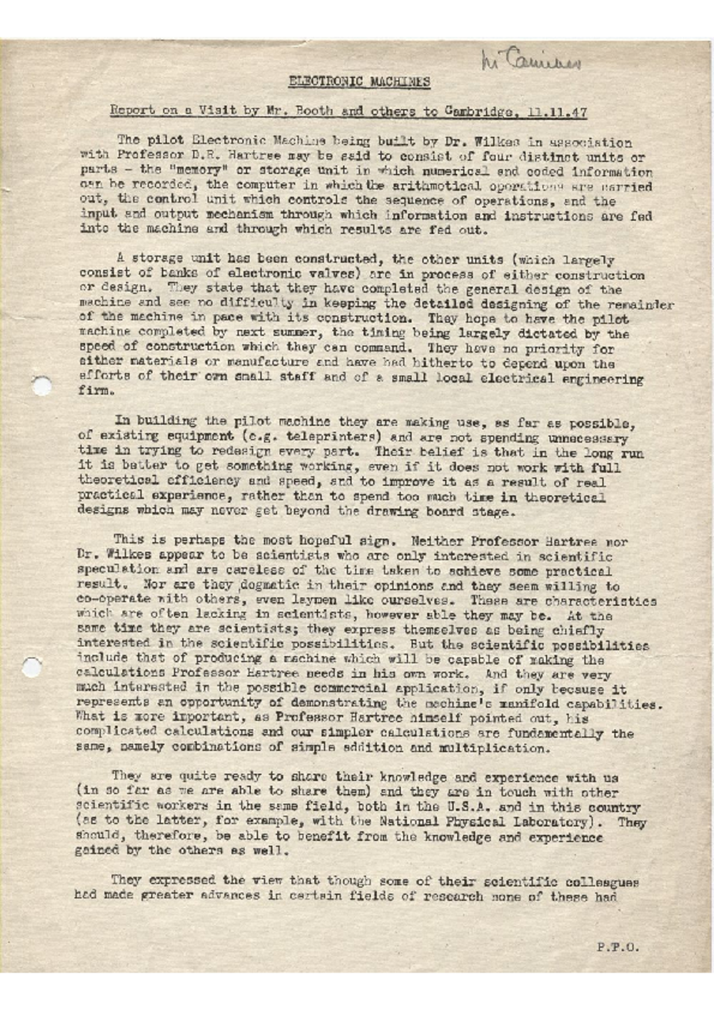 Article: 54869 Electronic Machines - Report on a Visit by Mr Booth and others to Cambridge, Nov 1947