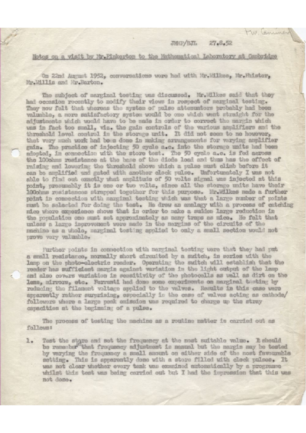Article: 54871 Notes on a Visit by Mr Pinkerton to the Mathematical Laboratory at Cambridge, Aug 1952