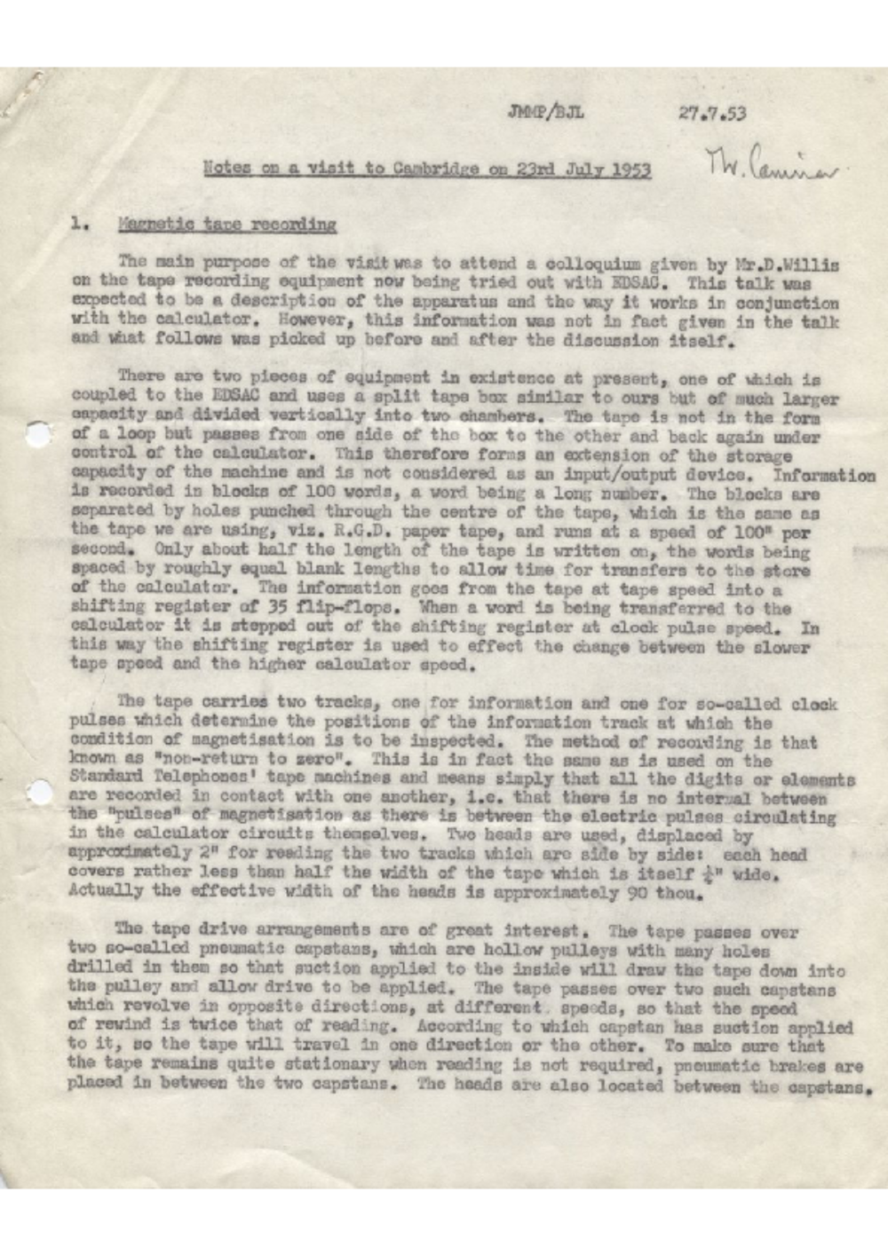 Article: 54872 Notes on a Visit to Cambridge, Jul 1953