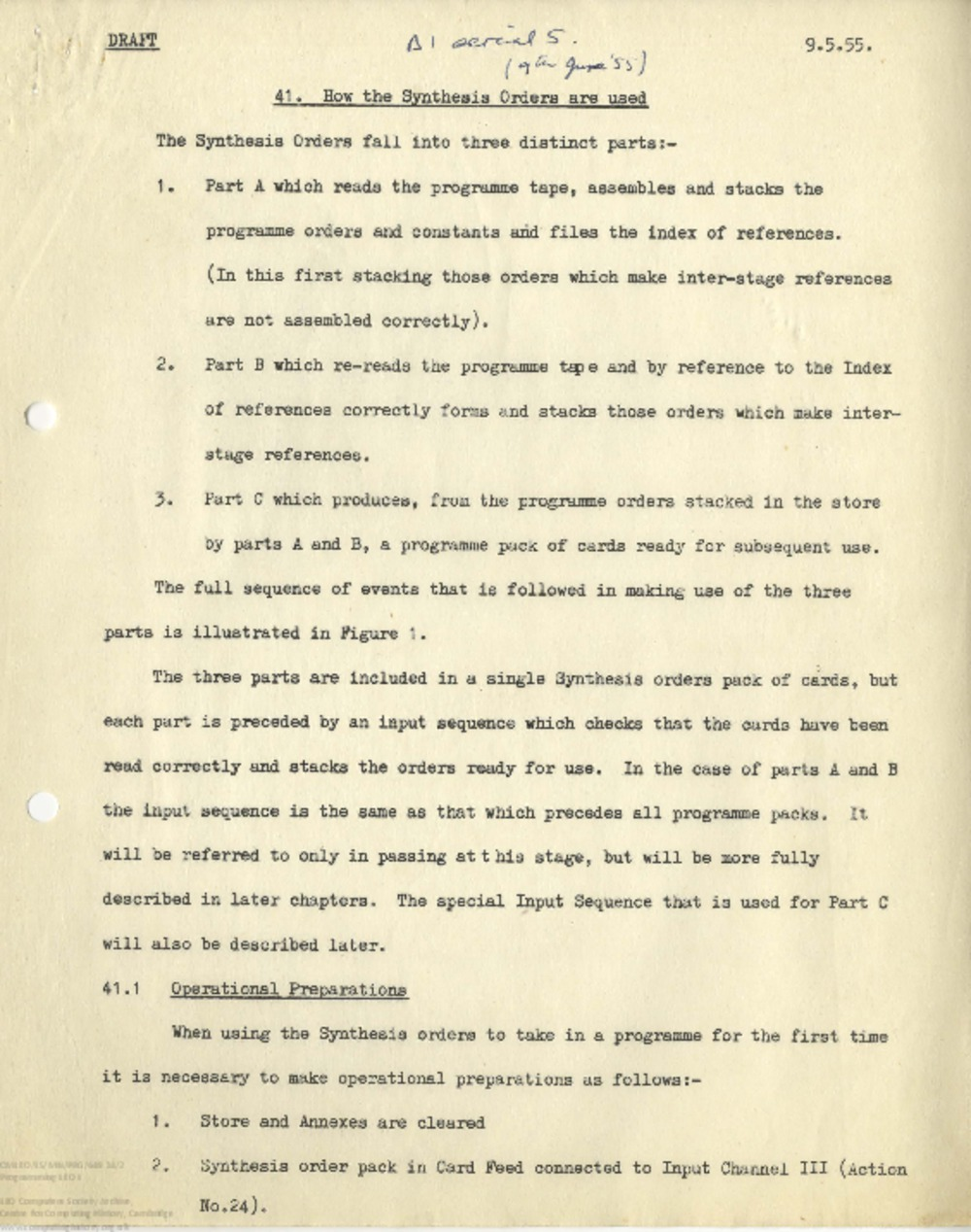 Article: 65265 Programming LEO I: Draft: 41. How the Synthesis Orders are Used, 9th May 1955