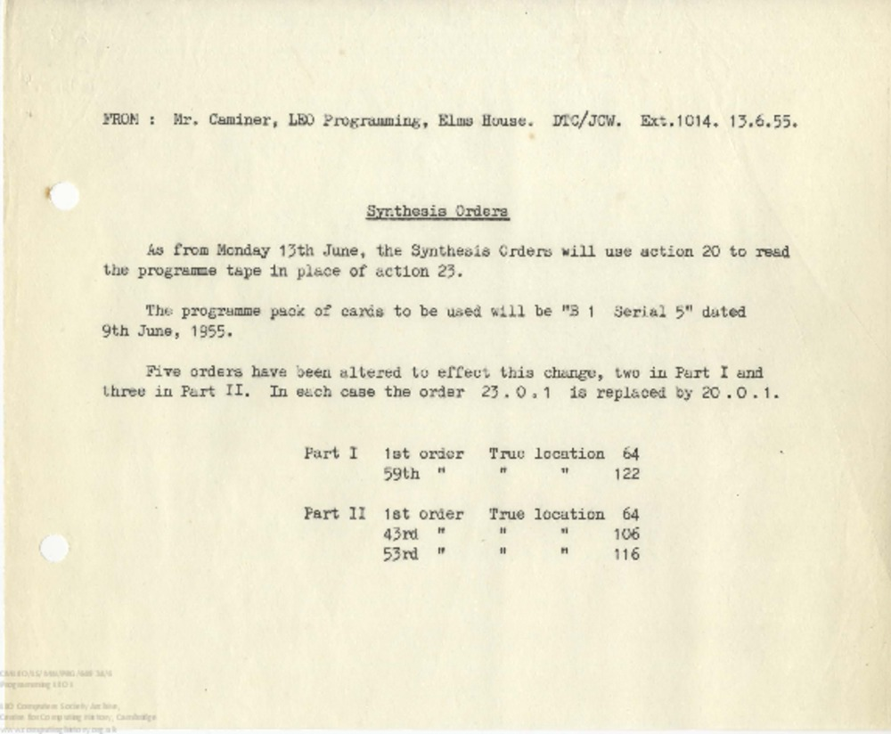Article: 65269 Programming LEO I: Synthesis Orders change, 13th June 1955