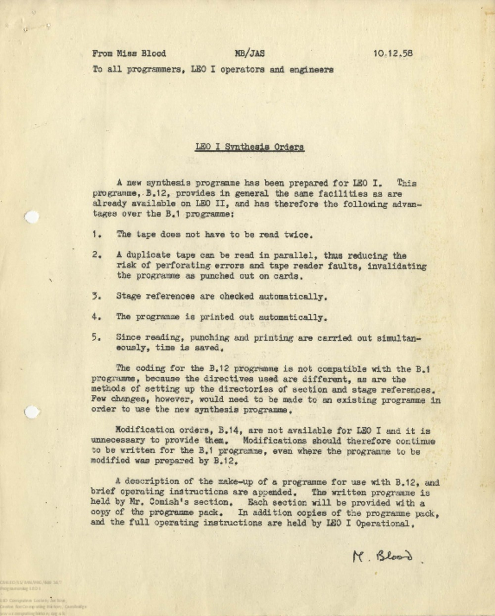 Article: 65270 Programming LEO I: New Synthesis Orders, 10th Dec 1958