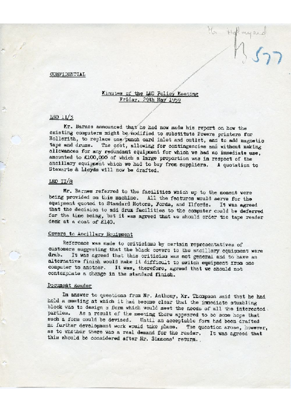 Article: 54592 LEO Policy Meeting, 29/5/1959
