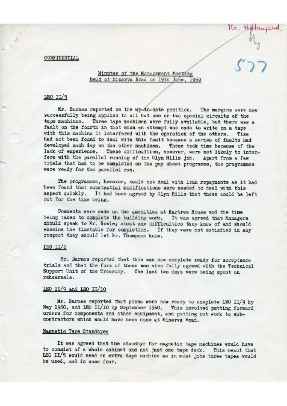 Article: 54594 LEO Management Meeting, 19/6/1959
