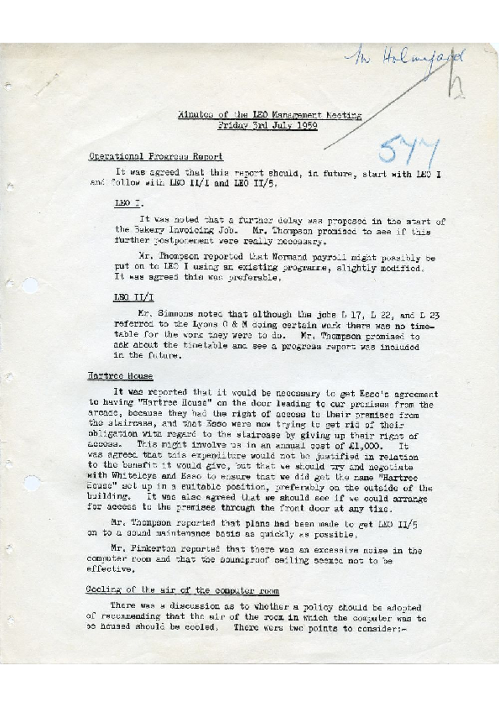 Article: 54922 LEO Management Meeting, 3/7/1959