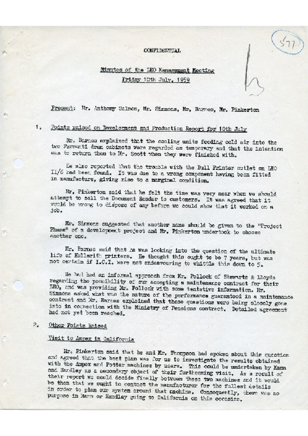 Article: 54923 LEO Management Meeting, 10/7/1959