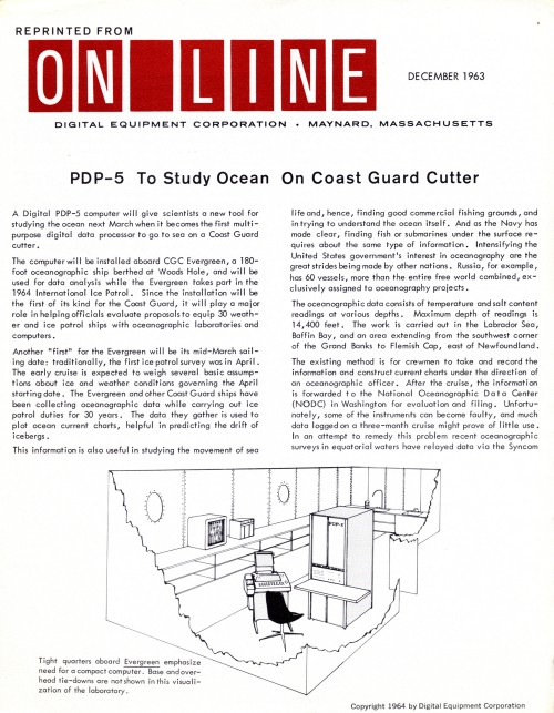 Scan of Document: Digital Equipment Corperation PDP-5 To Study Ocean On Coast Guard Cutter