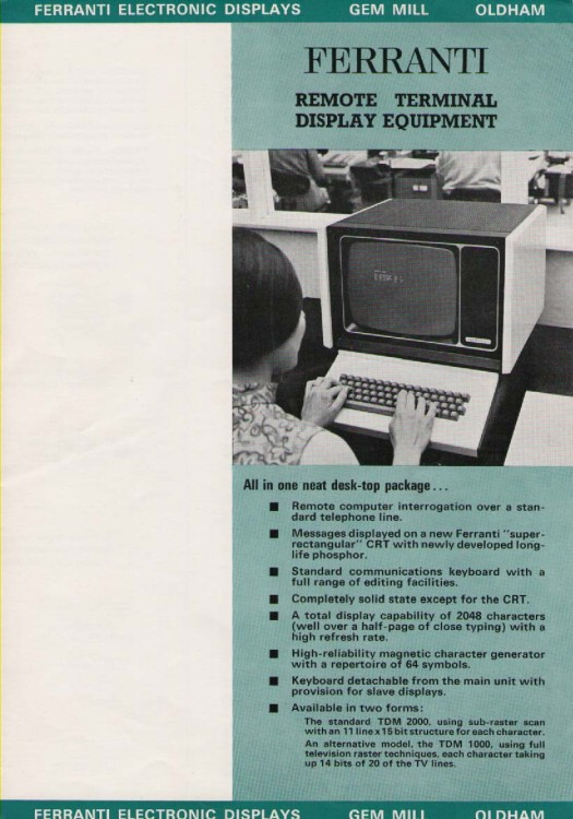 Scan of Document: Ferranti Remote Terminal Display Equipment
