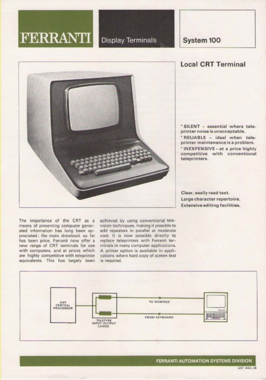 Scan of Document: Ferranti Display Terminals System 100