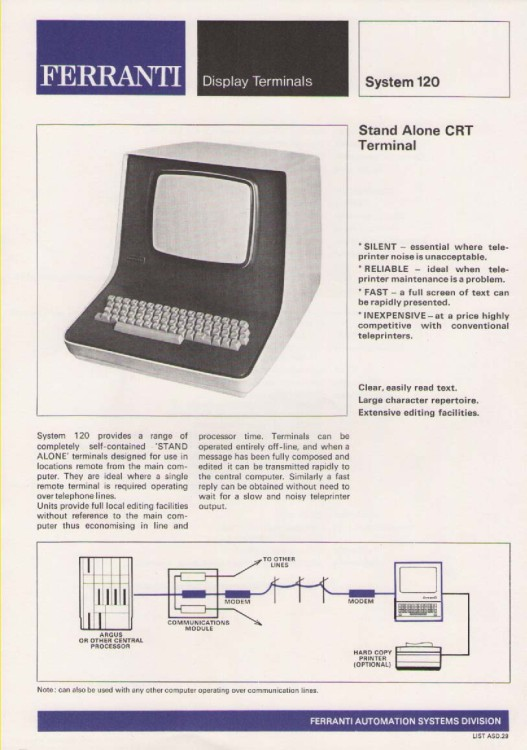 Scan of Document: Ferranti Display Terminals System 120