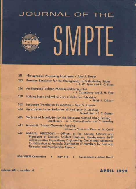 Scan of Document: Journal of the SMPTE April 1959
