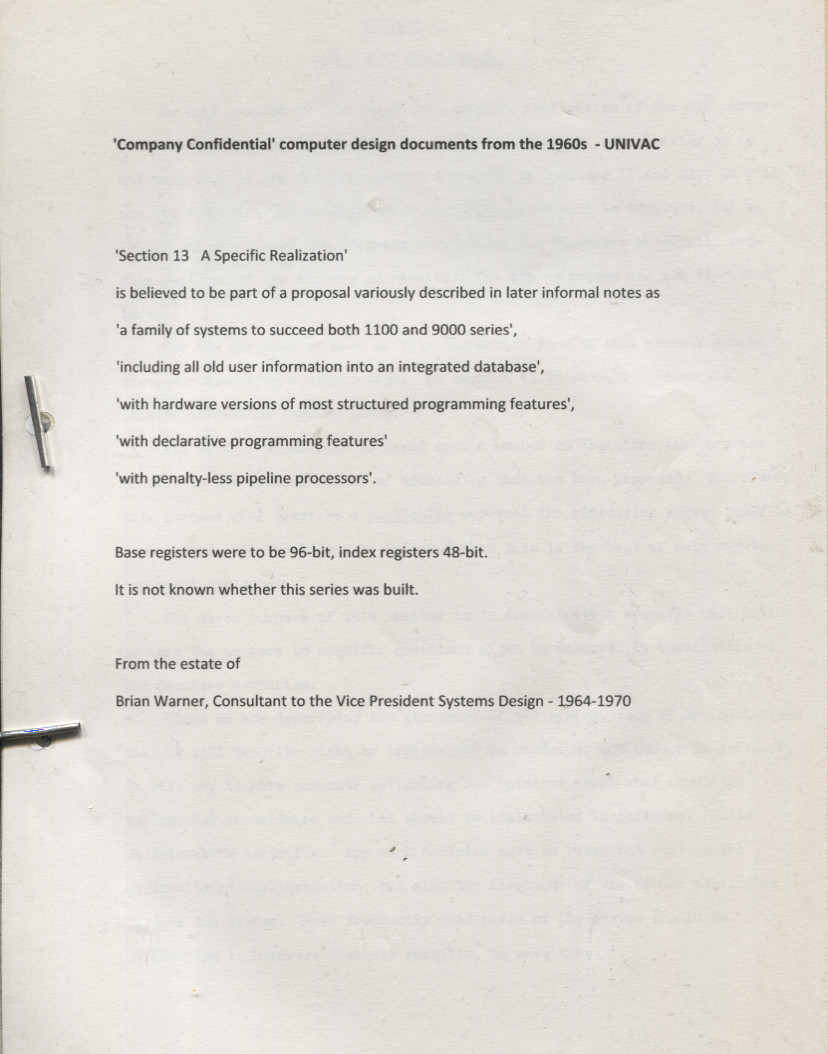 Scan of Document: Company Confidential computer design documents from the 1960's - UNIVAC