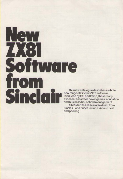 Scan of Document: New ZX81 Software from Sinclair