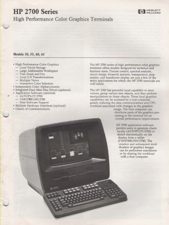Scan of Document: HP 2700 Series Color Graphics Terminals leaflet