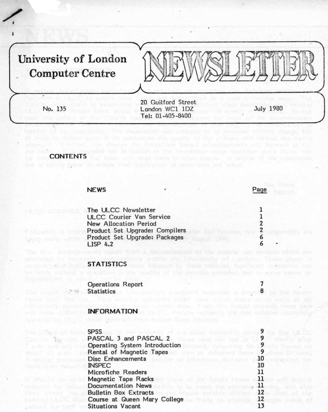 Scan of Document: ULCC News July 1980 Newsletter 135