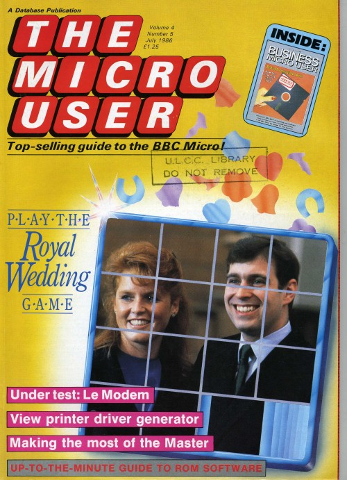 Scan of Document: The Micro User - July 1986 - Vol 4 No 5