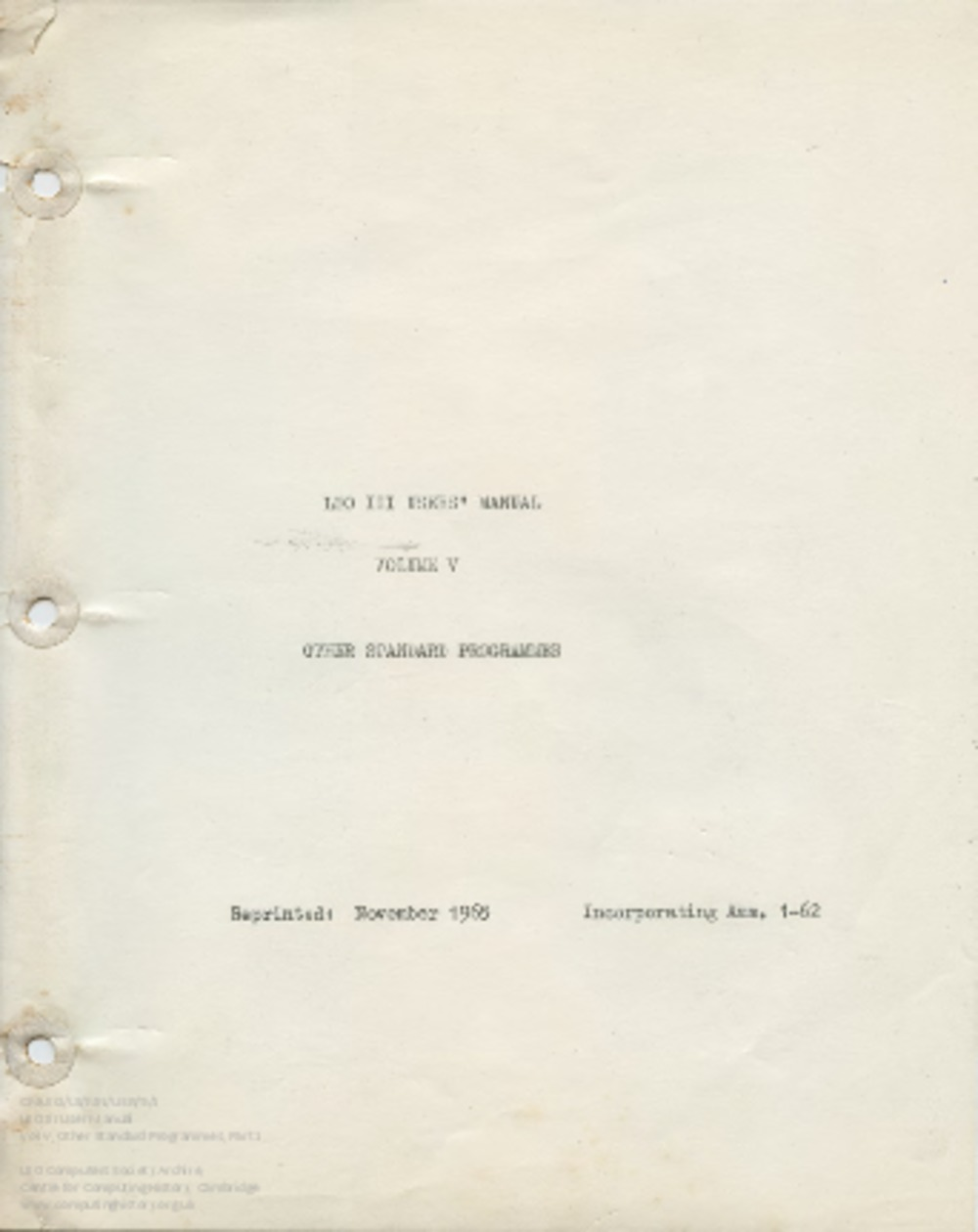 Article: 59154 User Manual for LEO III: Vol 5, Part 1 - Test Programmes