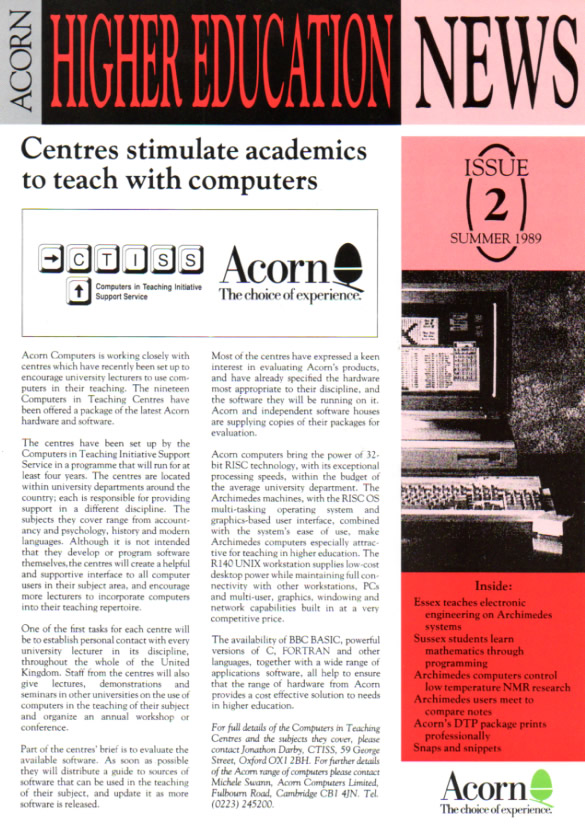 Scan of Document: Acorn - Higher Education News 2 - Summer 1989