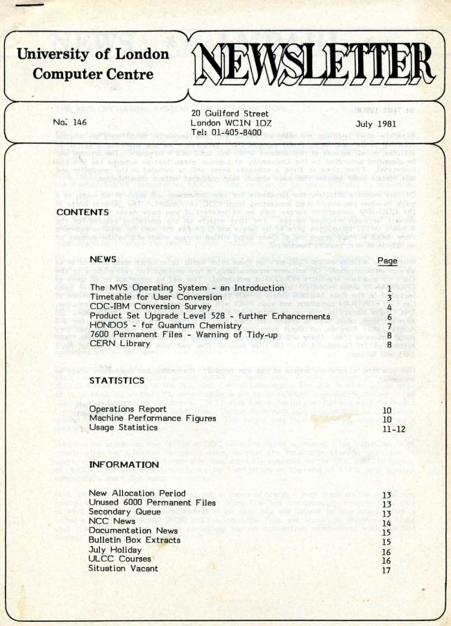 Scan of Document: ULCC News July 1981 Newsletter 146