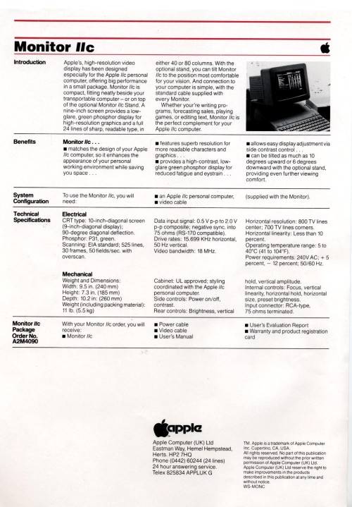 Scan of Document: Apple Monitor IIc