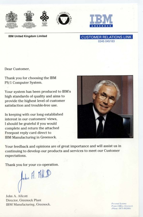 Scan of Document: IBM Customer Relations Link