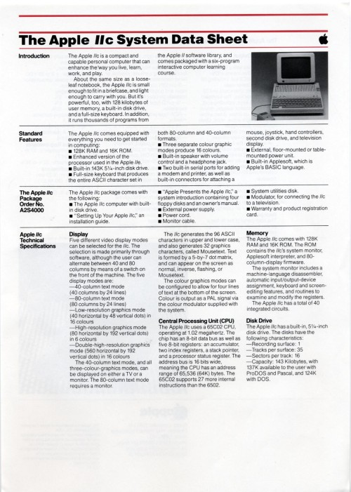 Scan of Document: Apple IIc System Data sheet
