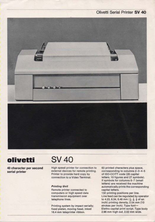 Scan of Document: Olivetti SV 40 Serial Printer