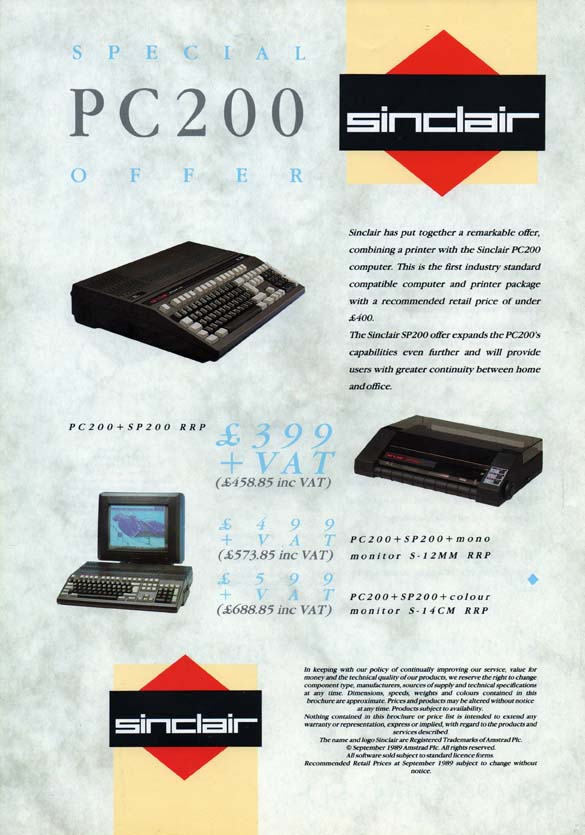 Scan of Document: Sinclair PC200 Special Offer