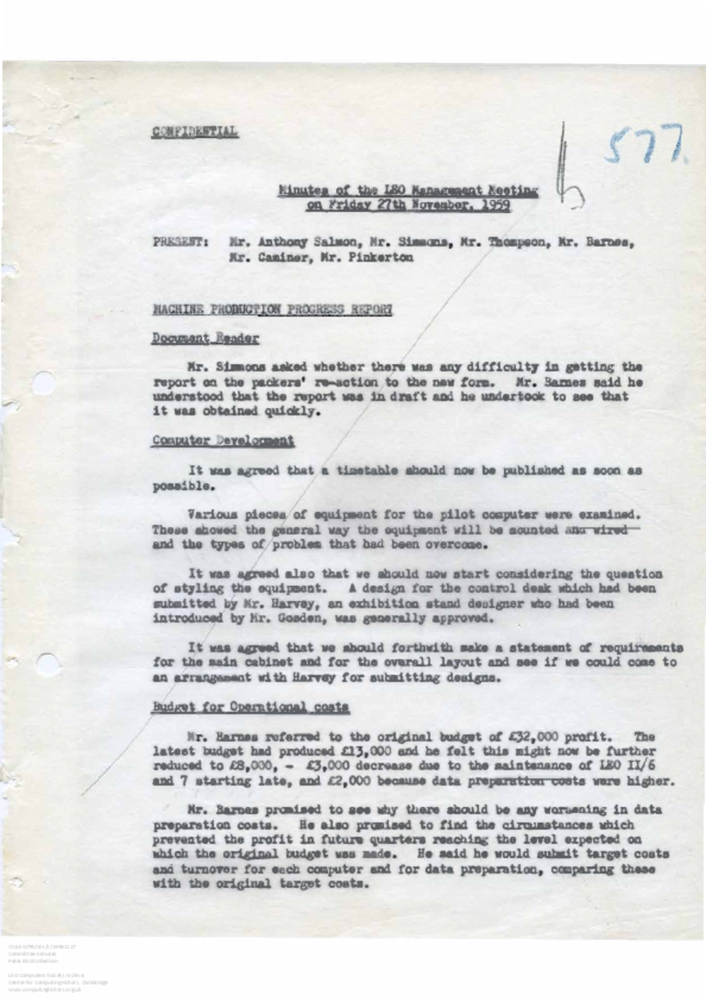 Article: 56052 LEO Management Meeting, 27/11/1959