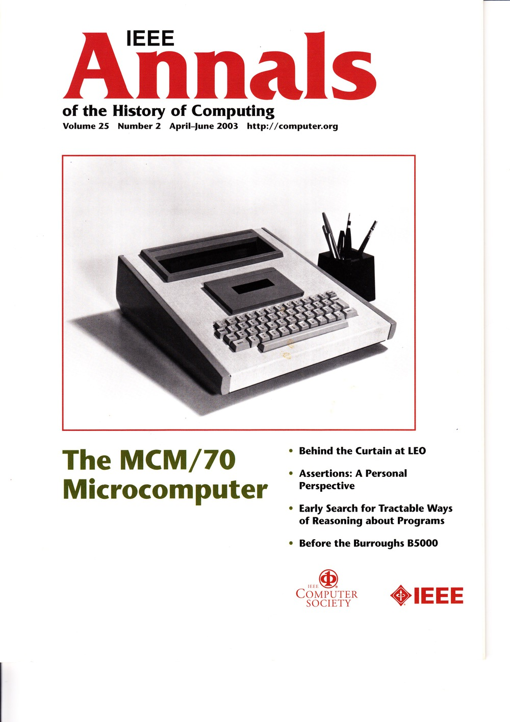 Scan of Document: IEEE Annals of the History of Computing - April-June 2003