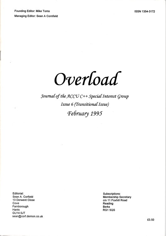 Scan of Document: Overload - Issue 6 - February/March 1995
