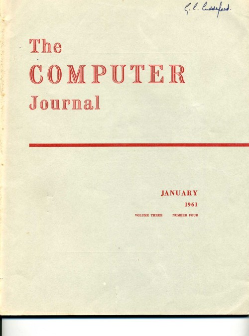 Scan of Document: The Computer Journal January 1961
